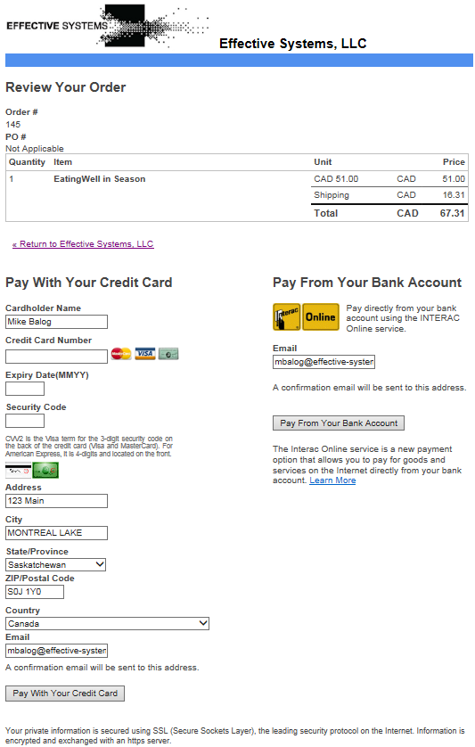 Effective Systems, LLC E-xact Payment Plugin